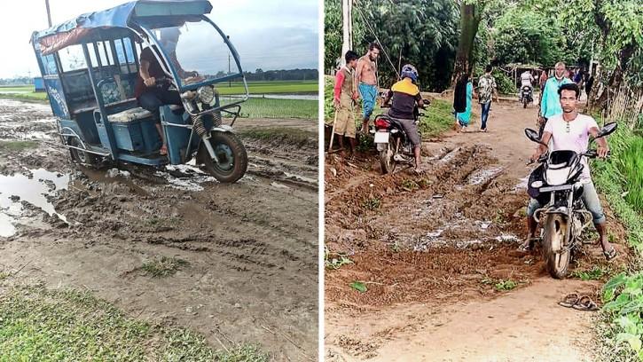 সুনামগঞ্জের তাহিরপুর উপজেলায় সড়কের বেহাল দশা